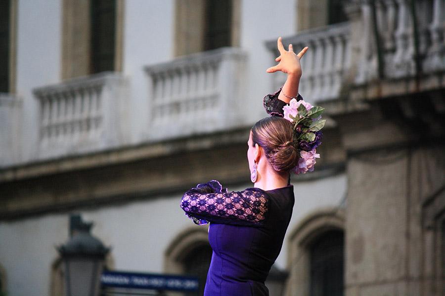 Détails d'une robe de flamenco