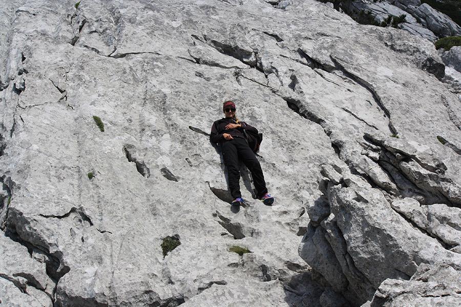 Tatiana sur les falaises de Paklenica