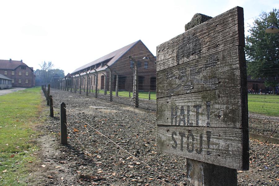 Panneau du camp d'Auschwitz