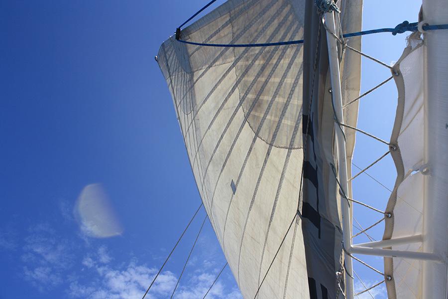 Grand voile du catamaran en Corse