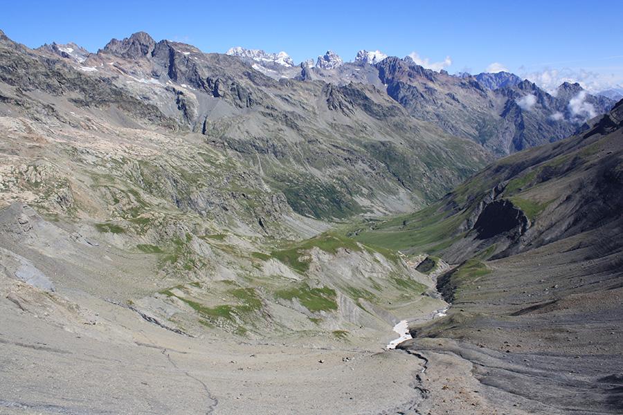 Panorama depuis Aup Martin, plus haut col des Ecrins