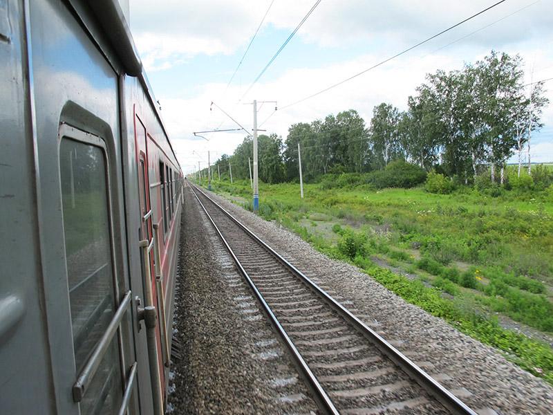 Vue des rails depuis le Transsibérien